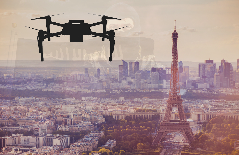 drone Eiffel tower background
